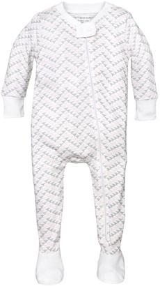 Burt's Bees Baby Baby Girls' Organic Print Zip Front Non-Slip Footed Sleeper Pajamas