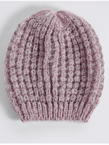 M&S Collection Textured Beanie Winter Hat
