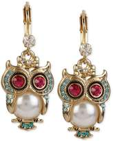 Betsey Johnson Gold-Tone Ornate Owl Drop Earrings