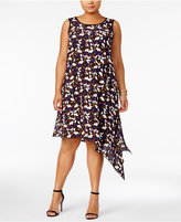 Anne Klein Plus Size Printed Asymmetrical Dress