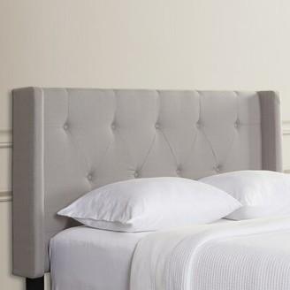 Three Posts Braelynn Queen Upholstered Wingback Headboard Upholstery: Light Gray