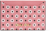 Miu Miu Printed Textured-leather Cardholder - Pink
