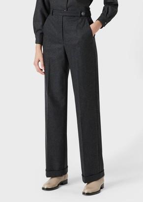 Giorgio Armani Wide-Fit Trousers In Stretch Flannel