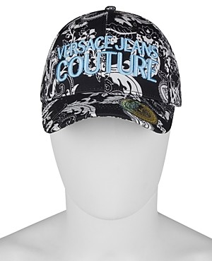 Versace Jeans Couture Cotton Logo Embroidered Bandana Print Baseball Cap
