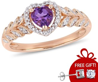 Miadora 10k Rose Gold Amethyst and Diamond Accent Heart Halo Engagement Ring