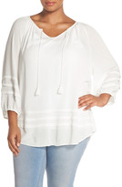 Sejour Pleat Detail Peasant Top (Plus Size)