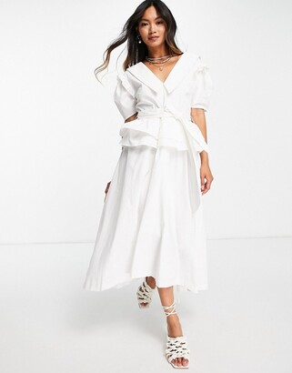 Lost Ink midi dress with vintage collar and full skirt in poplin