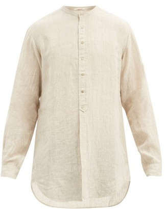 Pero - Band-collar Hand-woven Linen Shirt - Beige