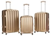 Rockland Metallic 3pc ABS Spinner Luggage Set