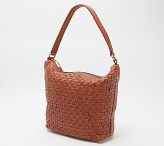 Patricia Nash Leather Washed Woven Brenta Hobo