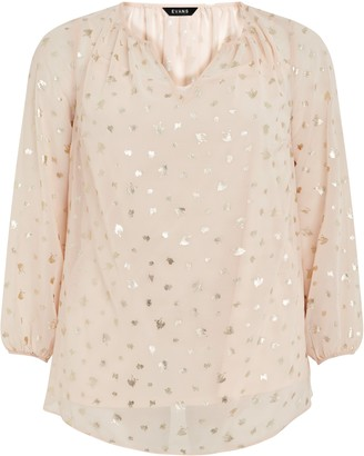 Evans Blush Foil V -Neck Top