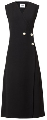 Jil Sander Compact Double-breasted Jersey Wrap Dress - Black