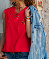 Cck Style CCK Style Women's Tank Tops Pomegranate - Pomegranate Lace-Up V-Neck Tank - Women