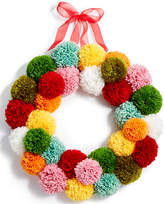 Holiday Lane Yarn Ball Pom Pom Wreath, Created for Macy's