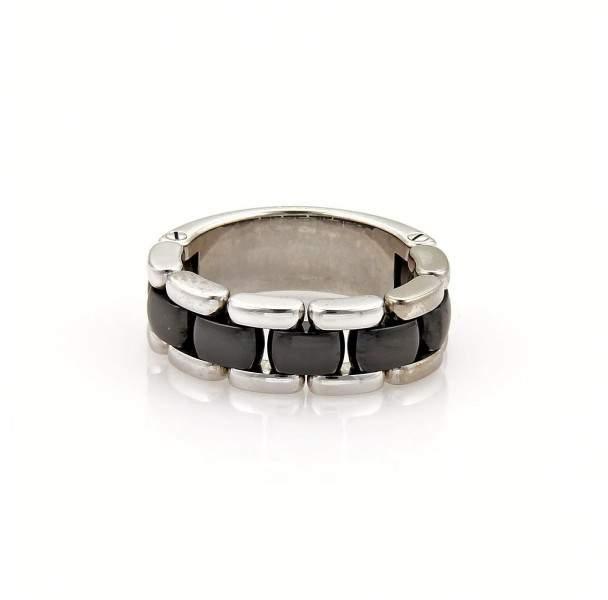 Chanel Ultra 18K White Gold & Black Ceramic Flex Chain Band Ring Size 8