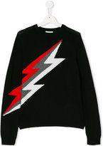 Zadig & Voltaire Kids tricolour thunderbolt jumper