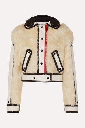 Courreges Cropped Faux Patent Leather-trimmed Faux Fur Jacket - White