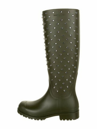 Saint Laurent Rubber Printed Rain Boots w/ Tags Green
