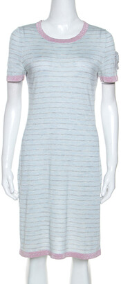 Chanel Pale Blue Striped Cashmere Knit Logo Embroidered Dress L