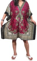 Mogul Interior Women's Kaftan Short Caftan Cover up Dashiki Beach Dress