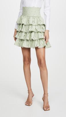 Costarellos Silk Chiffon Miniskirt with Ruffled Cotton Guipure
