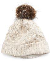 Women's SIJJL Faux-Fur Cable-Knit Beanie