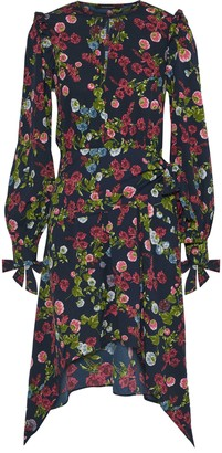 Walter W118 By Baker Andrea Draped Floral-print Crepe De Chine Dress