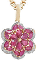 FINE JEWELRY LIMITED QUANTITIES Lead Glass-Filled Ruby and Diamond-Accent Flower Pendant Necklace