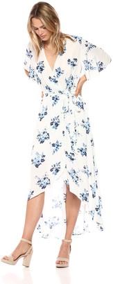 Moon River Women's Flutter Sleeve HIGH-Low WRAP Maxi Dress