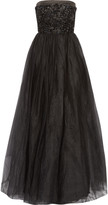 Raoul Park Avenue embellished satin-trimmed tulle strapless gown