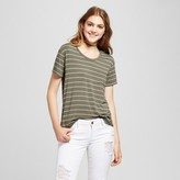 Mossimo Women's Softest Crew T-Shirt Supply Co.Olive and Gray Stripe