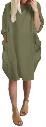 KIDSFORM Women's Oversized Dress Long Sleeve Tunic Dress Plus Size Shirt Dress Baggy Pockets Short Jumper Blouse T-Shirt - Grey - XL