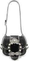 Miu Miu Dahlia Embellished Leather Shoulder Bag - Black