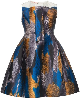 Marni Abstract Print Flared Dress