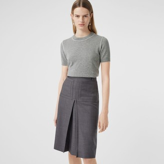 Burberry Short-seeve Monogram Motif Cashmere Top