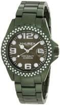 Haurex Italy Women's XK374DVV Ink Stones Green Aluminum Crystal Date Watch