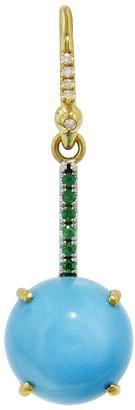 Irene Neuwirth Turquoise Sphere and Emerald Pave Yellow Gold Single Earring