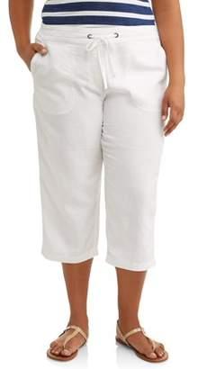 Per Se Women's Plus Size Solid Linen Drawstring Waist Capri