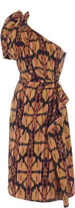 Ulla Johnson Idra Ikat-Print Cotton One-Sleeve Dress
