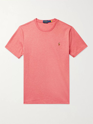 Polo Ralph Lauren Logo-Embroidered Melange Interlock Cotton T-Shirt