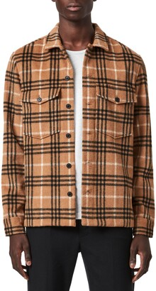 AllSaints Berthold Slim Fit Plaid Flannel Button-Up Shirt