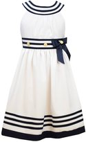 Bonnie Jean Girls Nautical Dress White Uneck