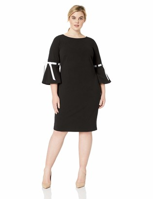 Calvin Klein Women's Size Sheath with Ribbon Detailed Bell Sleeve