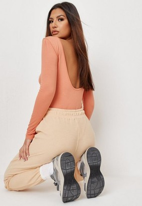 Missguided Terracotta Extreme Scoop Back Bodysuit