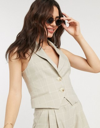 ASOS DESIGN suit waistcoat in camel grid check