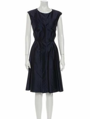Oscar de la Renta Scoop Neck Knee-Length Dress w/ Tags Blue