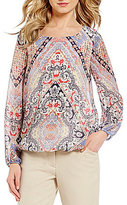 I.N. Studio Soft Boho Paisley Border Print Long Sleeve Top