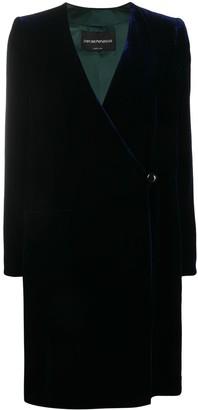 Emporio Armani One-Button Velvet Coat