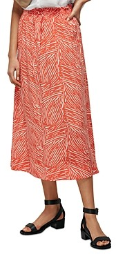 Whistles Tiger Palm Print Smocked Waist Skirt