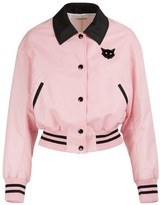 Miu Miu Cats patch bomber jacket